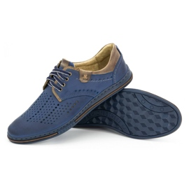 Polbut Leather shoes for men 402 summer navy blue with brown multicolored 3