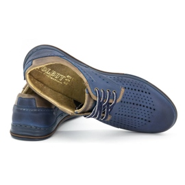 Polbut Leather shoes for men 402 summer navy blue with brown multicolored 4