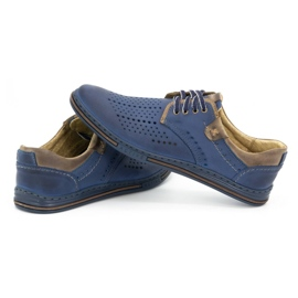 Polbut Leather shoes for men 402 summer navy blue with brown multicolored 5