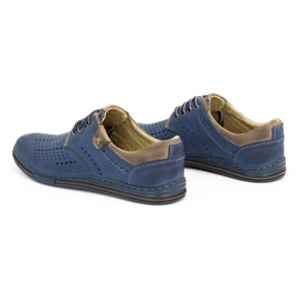 Polbut Leather shoes for men 402 summer navy blue with brown multicolored 6
