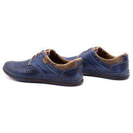 Polbut Leather shoes for men 402 summer navy blue with brown multicolored 7