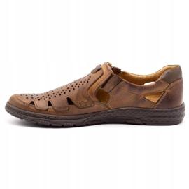 Joker Men's summer leather shoes, slip-on 500J brown 4