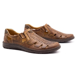 Joker Men's summer leather shoes, slip-on 500J brown 5