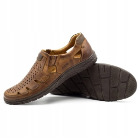 Joker Men's summer leather shoes, slip-on 500J brown 6