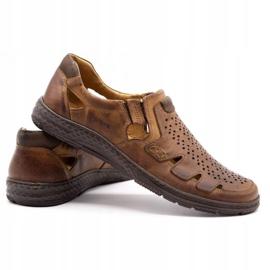Joker Men's summer leather shoes, slip-on 500J brown 7