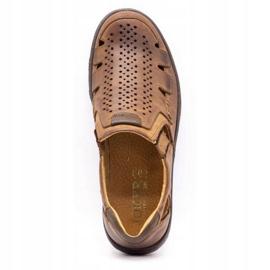 Joker Men's summer leather shoes, slip-on 500J brown 11