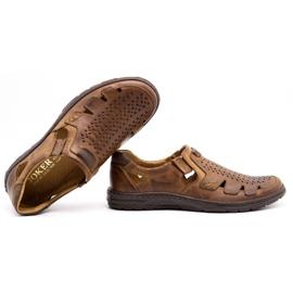 Joker Men's summer leather shoes, slip-on 500J brown 1