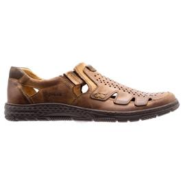 Joker Men's summer leather shoes, slip-on 500J brown 3