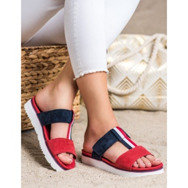 Filippo Leather Slippers red navy 2