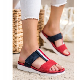 Filippo Leather Slippers red navy 3