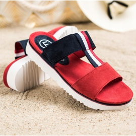 Filippo Leather Slippers red navy 1