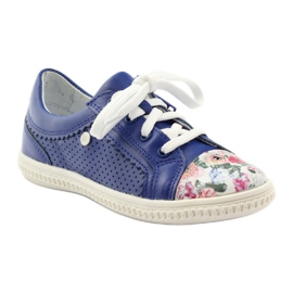 Girls' low shoes flowers Bartek 15524 blue multicolored 1