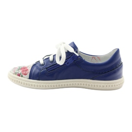 Girls' low shoes flowers Bartek 15524 blue multicolored 2