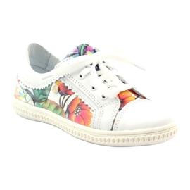 Girls' low shoes flowers Bartek 15524 white violet orange green 1