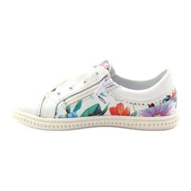 Girls' low shoes flowers Bartek 15524 white violet orange green 2