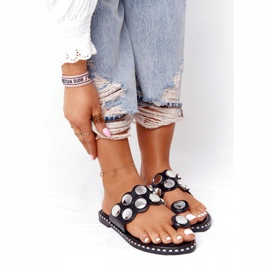PS1 Eco-leather Slippers With Jets SK78P Black Ava silver 4