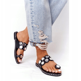 PS1 Eco-leather Slippers With Jets SK78P Black Ava silver 2