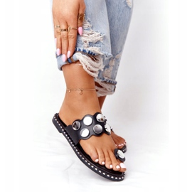 PS1 Eco-leather Slippers With Jets SK78P Black Ava silver 1