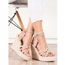 Seastar Tied Sandals On A High Wedge beige 1