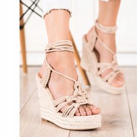 Seastar Tied Sandals On A High Wedge beige 3