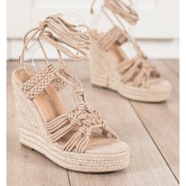 Seastar Tied Sandals On A High Wedge beige 2