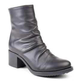 Marco Shoes Comfortable black leather boots with shirring 1