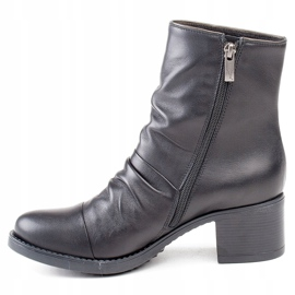 Marco Shoes Comfortable black leather boots with shirring 2