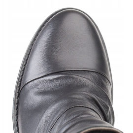 Marco Shoes Comfortable black leather boots with shirring 4