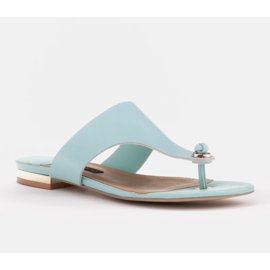 Marco Shoes Flat flip-flops in mint color with a metallic heel green 1