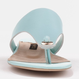 Marco Shoes Flat flip-flops in mint color with a metallic heel green 2