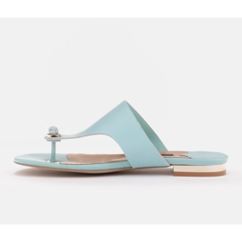 Marco Shoes Flat flip-flops in mint color with a metallic heel green 3