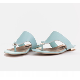 Marco Shoes Flat flip-flops in mint color with a metallic heel green 5