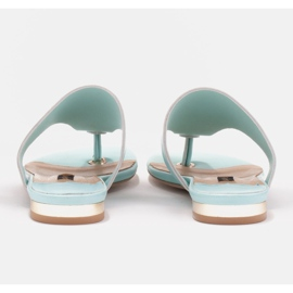 Marco Shoes Flat flip-flops in mint color with a metallic heel green 4