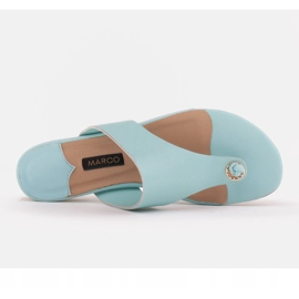 Marco Shoes Flat flip-flops in mint color with a metallic heel green 6