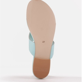 Marco Shoes Flat flip-flops in mint color with a metallic heel green 7