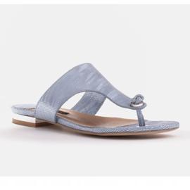 Marco Shoes Flat leather flip-flops with metallic heel blue 1