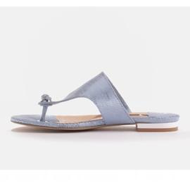 Marco Shoes Flat leather flip-flops with metallic heel blue 3
