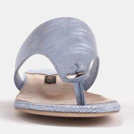 Marco Shoes Flat leather flip-flops with metallic heel blue 2