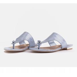 Marco Shoes Flat leather flip-flops with metallic heel blue 4