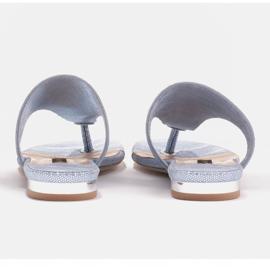 Marco Shoes Flat leather flip-flops with metallic heel blue 5