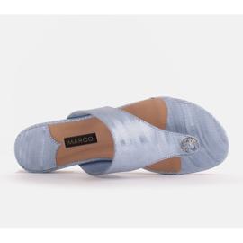 Marco Shoes Flat leather flip-flops with metallic heel blue 6