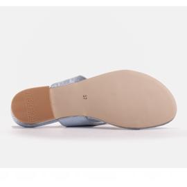 Marco Shoes Flat leather flip-flops with metallic heel blue 7