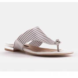 Marco Shoes Flat sandals with lacquer and metallic heel white silver 2