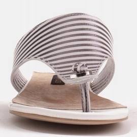 Marco Shoes Flat sandals with lacquer and metallic heel white silver 1