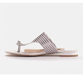 Marco Shoes Flat sandals with lacquer and metallic heel white silver 3