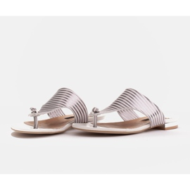 Marco Shoes Flat sandals with lacquer and metallic heel white silver 4