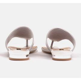Marco Shoes Flat sandals with lacquer and metallic heel white silver 5