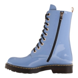 Marco Shoes High ankle boots, boots tied on a translucent sole blue 3