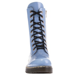 Marco Shoes High ankle boots, boots tied on a translucent sole blue 2