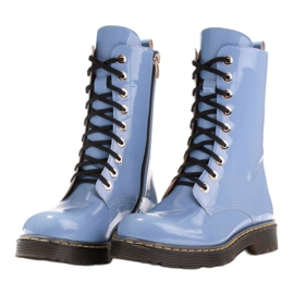 Marco Shoes High ankle boots, boots tied on a translucent sole blue 4